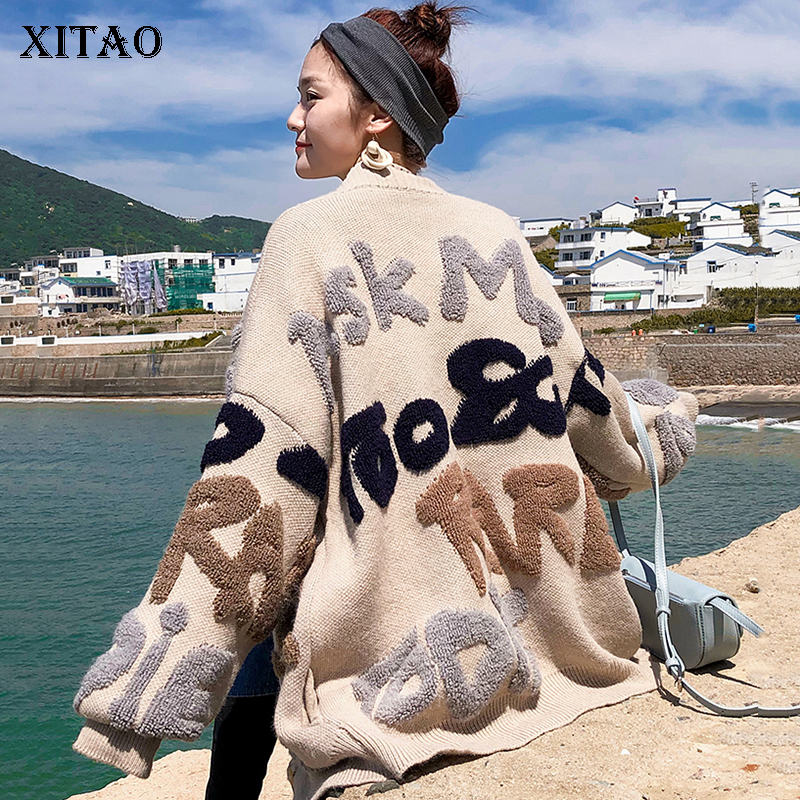 [XITAO] Korea Fashion New Women 2018 Autumn Single Breasted Cardigans V neck Full Sleeve Casual Letter Knitted Sweater LJT4436