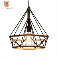 BLUBBLE Vintage Iron Pendant Lights Diamond Shape Pendant Lamp AC 110 240 V Originality Restaurant Decorate Nostalgia HangLamp