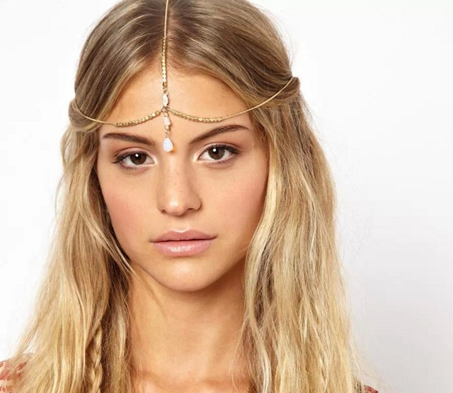 Hoop Single White Drop Chain Bride Chain Layer Head Chain Headband