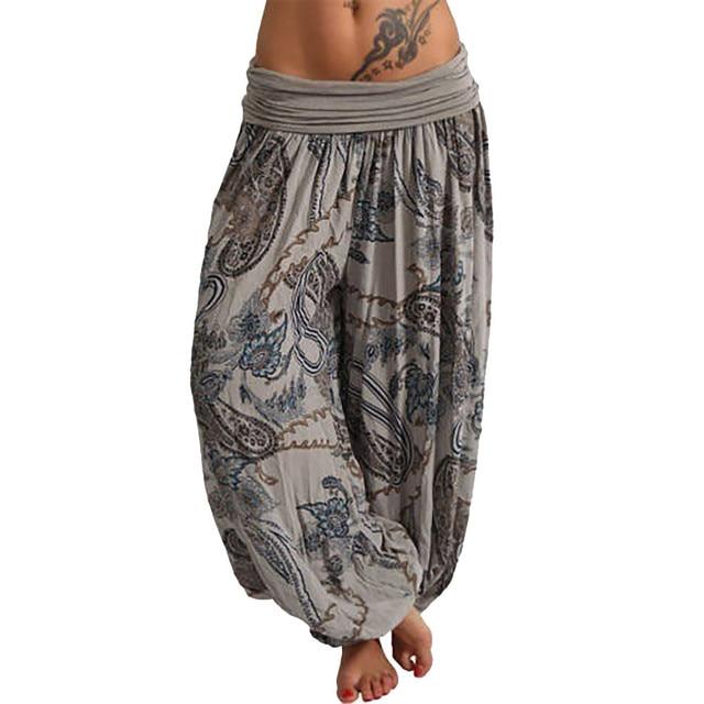 MIARHB S-5XL Plus Size Women Casual Bohemia Print Pockets Wide Leg Loose High Trousers Harem Pants 7 Colors Штаны Freeship N4