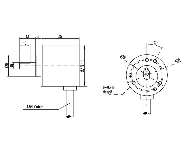 400 P/R Инкрементальный энкодер AB фазы NPN открытым коллектором 5-24VDC 6 мм вал 400ppr кодер