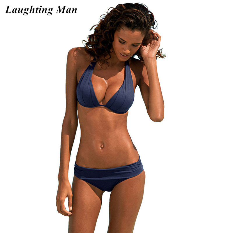 Laughting Man 2017 Sexy Solid Low Waist Bikini Set Push Up Brazilian Women Swimwear Beach Wear Biquini Swimsuit Monokini YJ125 three colors hot sale solid color push up adjustable straps low waist sexy sports bikini set swimsuit 2016 fd81621