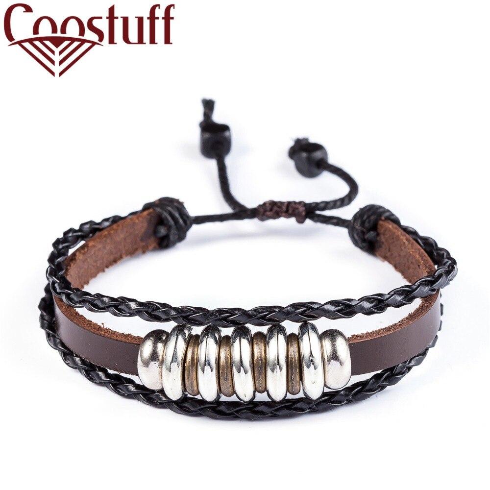New Genuine leather bracelets for women men jewelry pulseira masculina pulseira feminina erkek bileklik Punk bracelet men femme