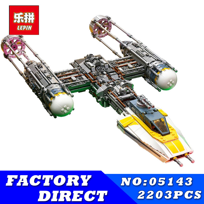 2018 New Lepin 05143 2203Pcs Star Wars Figures UCS Y-Wing Fighter Model Building Kit Blocks Bricks Children Toy Compatible 75181 new 1685pcs lepin 05036 1685pcs star series tie building fighter educational blocks bricks toys compatible with 75095 wars
