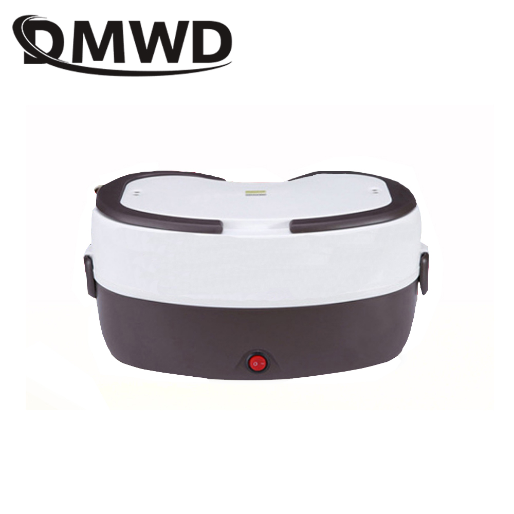 DMWD Electric Insulation Heating Lunch Box Mini Rice Cooker Food Container Steamer Lunchbox Meal Heater 2 Stainless steel Bowls dmwd 12v 24v mini rice cooker car truck soup porridge cooking machine food steamer electric heating lunch box meal heater warmer