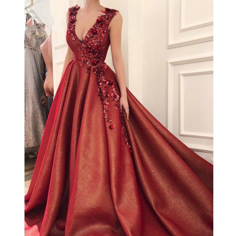 96-1    Burgundy Muslim Evening Dresses 2019 A-line Deep V-neck Flowers Beaded Sexy Islamic Dubai Saudi Arabic Long Evening Gown