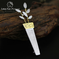 Lotus Fun Moment Real 925 Sterling Silver Handmade Fashion Jewelry Fashion Unique Potted Flower Women Brooches Broche Pin Badge