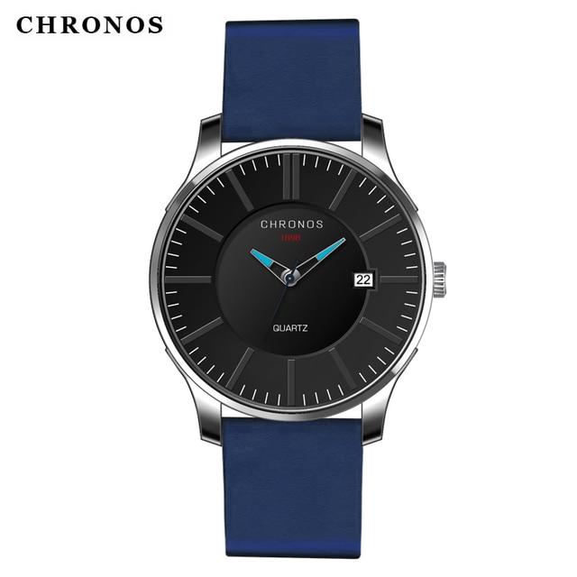 Men Fashion Classic Waterproof Blue Watches Casual Date Japanese Quartz Genuine Leather Band Clock Montre Homme Horloges Mannen