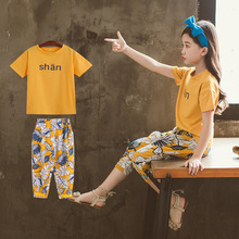 Teenage Girls clothing sets casual sport suits letter t-shirt + leaf Printed pants bohemian Two Piece 4-13T kids vacation suits недорого