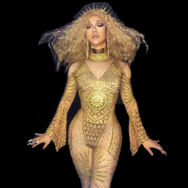 Sexy Nice Bodysuis Full Crystals Stage Wear Costume Prom Birthday Celebrate Outfit Fashion Gold Rhinestones Nude Jumpsuit Women