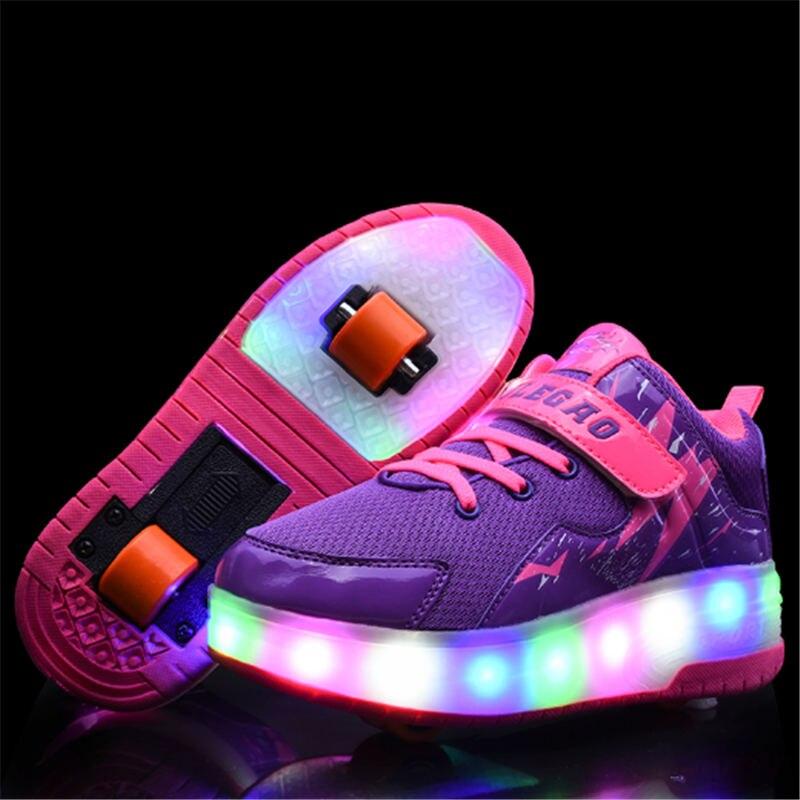Marque enfants chaussures enfants 2019 USB Heelies sport baskets avec Double deux roues chaussures lumineuses LED filles garçon chaussures de Skate de mode