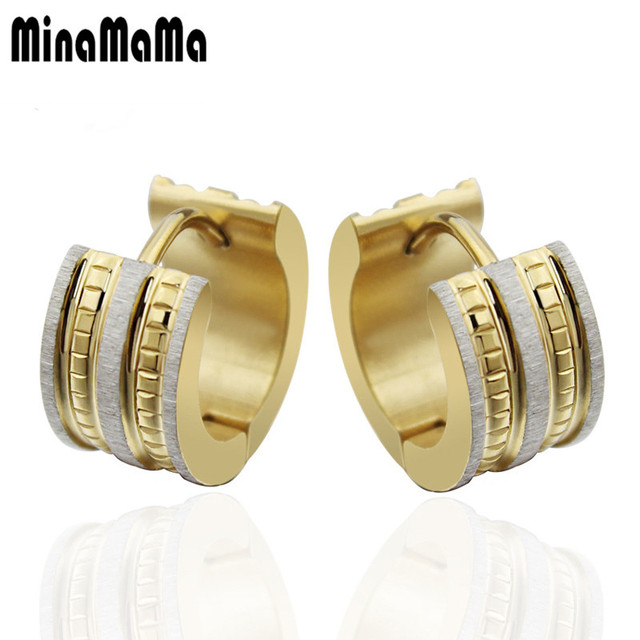 Men Earrings Gold Color 316l Stainless Steel Stud High Quality Greek