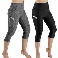 3/4 pantalons de Yoga femmes mollet longueur pantalon Capri Sport leggings femmes Fitness Yoga gymnase taille haute Leggins noir livraison directe