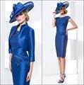 Azul Royal 2017 Mãe Da Noiva Vestidos Bainha Joelho de Comprimento Curto Vestidos de Noite Vestidos de Mãe De Noiva Com Jaqueta