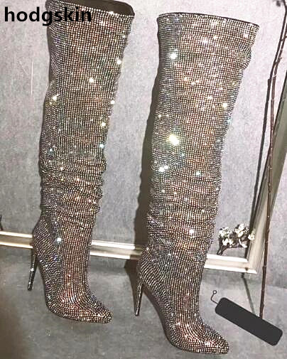 Full Glliter Crystal Pointed Toe Bling Bling Over Knee Rhinestone Boots Long Stiletto High Heel Boots Luxury Thin Heel BootsFull Glliter Crystal Pointed Toe Bling Bling Over Knee Rhinestone Boots Long Stiletto High Heel Boots Luxury Thin Heel Boots