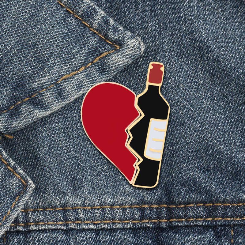 2 ชิ้น/เซ็ต Creative B Rocken หัวใจขวดไวน์ Earth ถ้วยพิซซ่าเคลือบ Pins ที่ดีที่สุด/BOOS เข็มกลัดป้าย corsage เครื่องประดับ