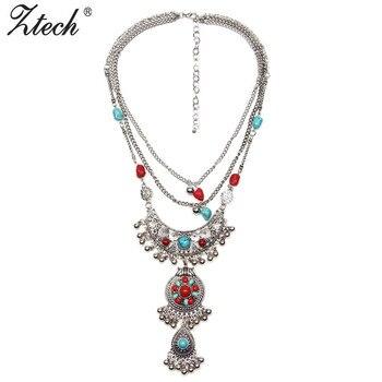 Женское винтажное ожерелье с синими бусинами ручной работы, металлические подвески и подвески в стиле бохо