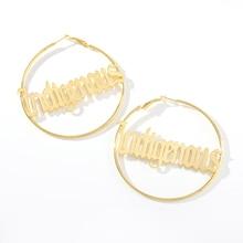 Personalized Old English Name Hoop Earrings Custom Circle Simple Big Gold Loop For Women