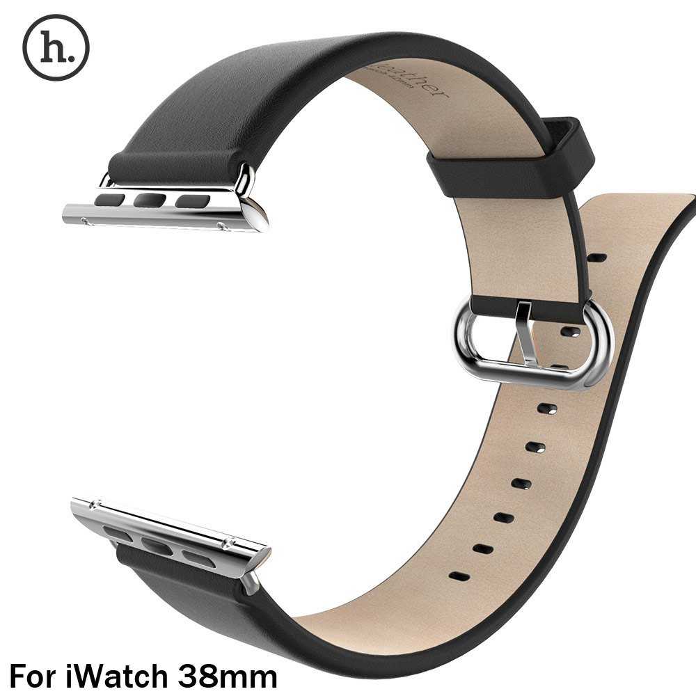 2017 New Arrival HOCO Brand Watch Luxury Genuine Leather Band Strap Stainless Steel Buckle Adapter Belt for Apple Watch 38 mm