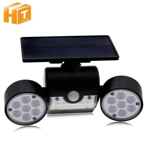 led solar lampada pir sensor de movimento lampada de parede dupla cabeca spotlight lampada de