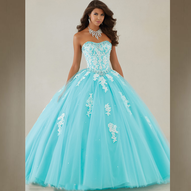 66a77628ffb Long Sweet 16 Ball Gown Prom Dress Aqua Ivory lace Tulle Puffy Quinceanera  Dresses Cheap Quinceanera Gowns 2016