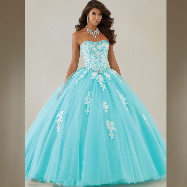Long Sweet 16 Ball Gown Prom Dress Aqua Ivory lace Tulle Puffy ...