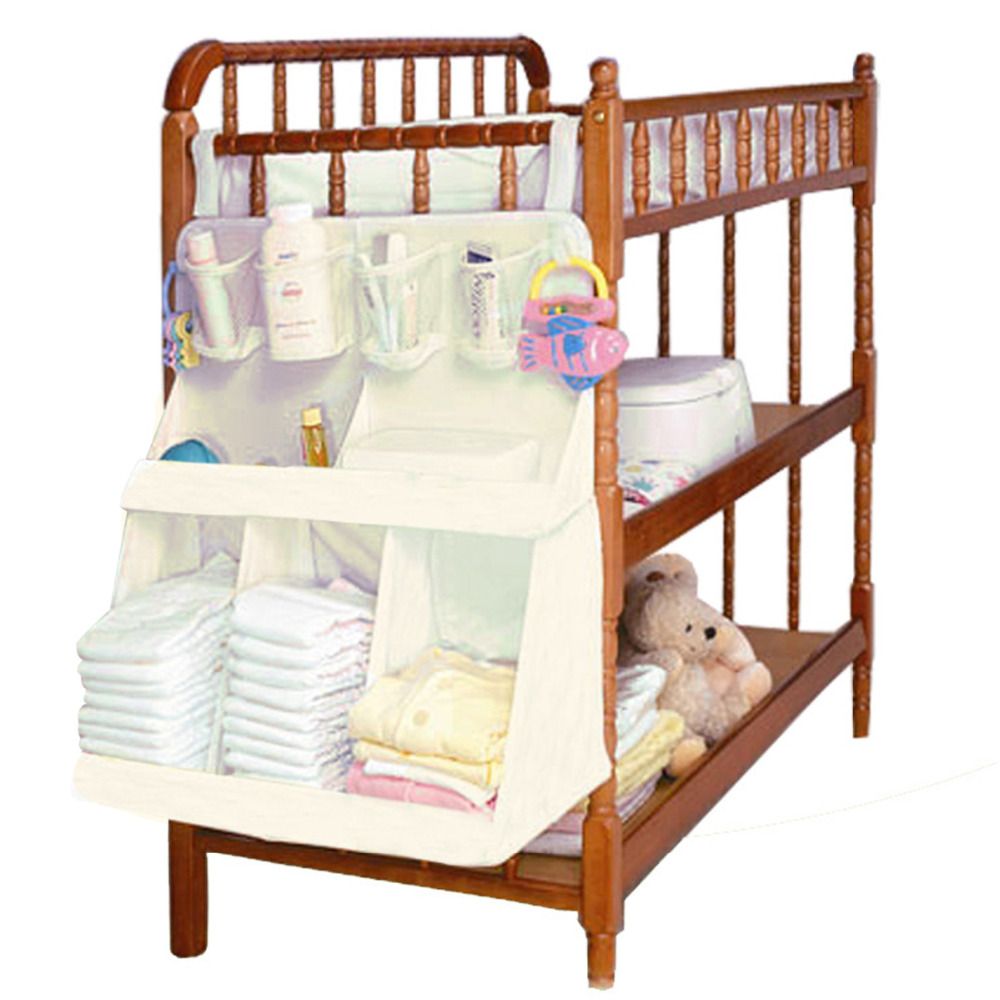 Newborn Baby Crib Bed Hanging Bag Infant Portable Diapers Organizer Bag Waterproof Baby Bedside Nappy Cloth Storage Rack Access