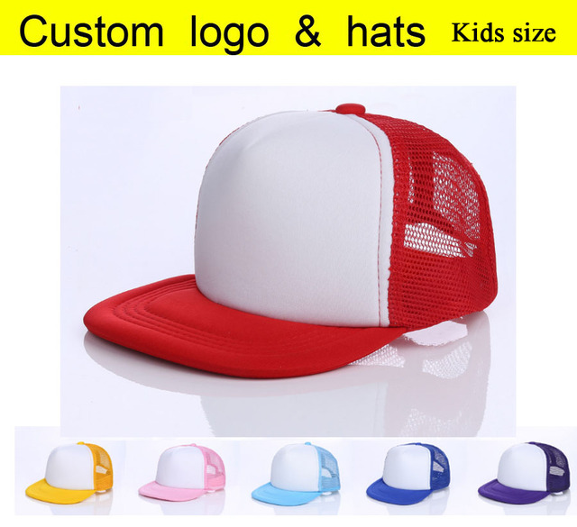 f7d48296f97 Kids Flat Brim Mesh Cap Blank Candy color baseball hats Children Outside Net  caps Hip Hop hatsChild Casual Peaked hat