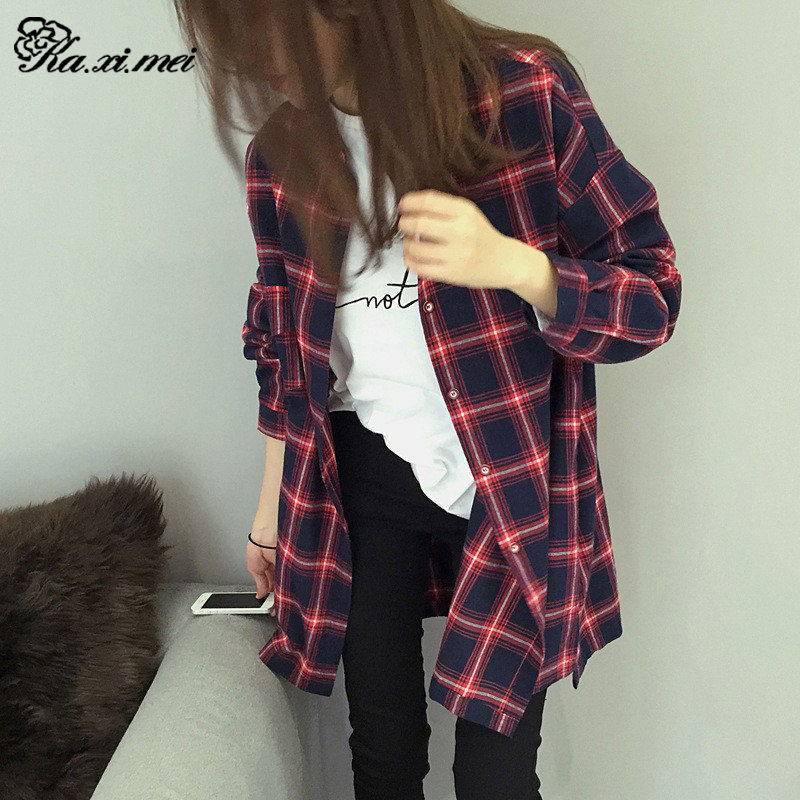 Kaximei Shirts Women 2016 Summer Cotton England Gewen BF Vintage Plaid Blusas Long Tribal Print Blouses