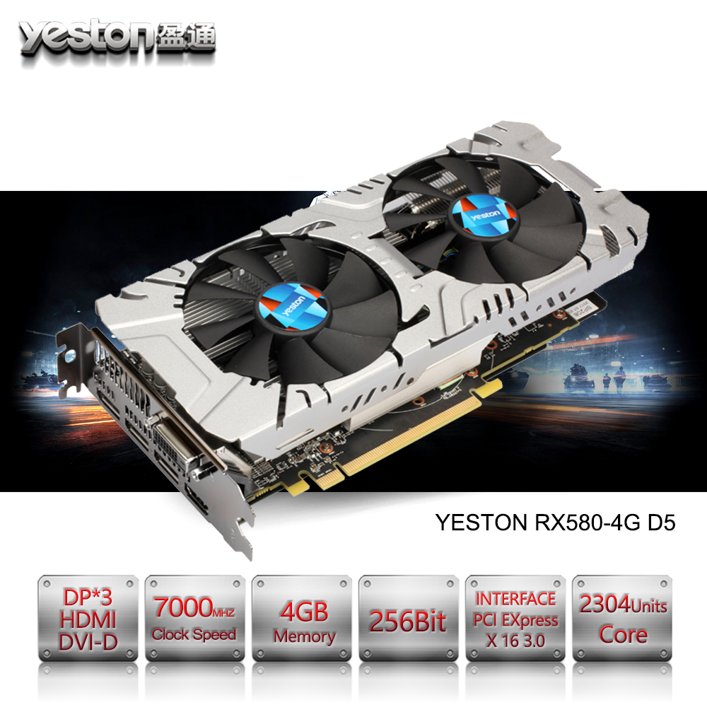 Yeston Radeon RX 580 GPU 4GB GDDR5 256 bit Gaming Desktop computer PC Video Graphics Cards support DVI/HDMI