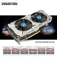 Yeston Radeon RX 580 GPU ГБ GDDR5 256 бит игровой настольный компьютер PC Видео видеокарты Поддержка DVI/HDMI
