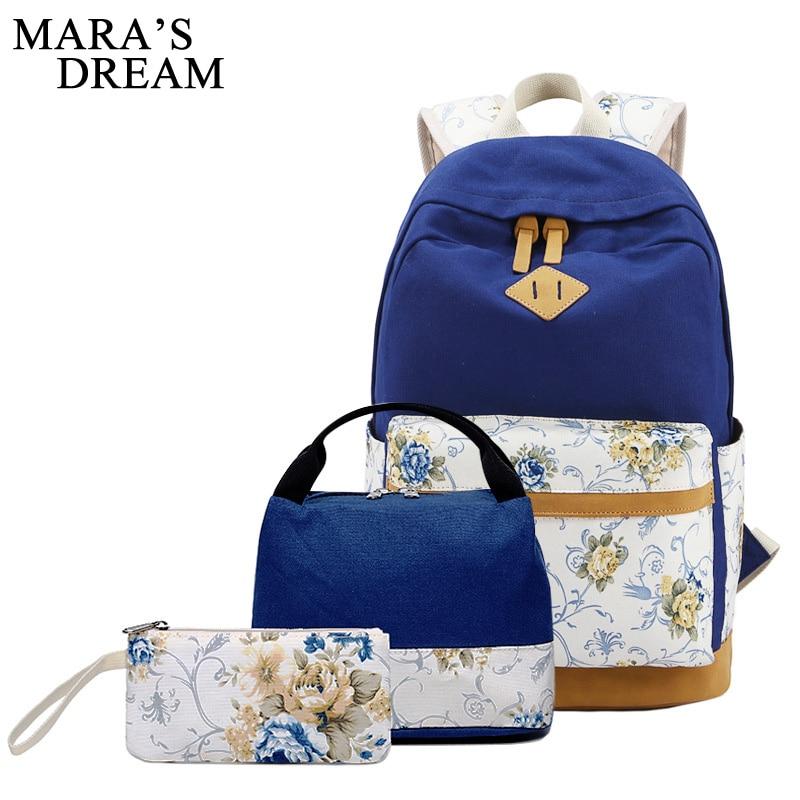 Mara's Dream Canvas Backpack 3 Pcs Set Women Flowe Print School Backpacks Schoolbag For Teenagers Girls Student Book Bag Satchel retro women s satchel with canvas and floral print design