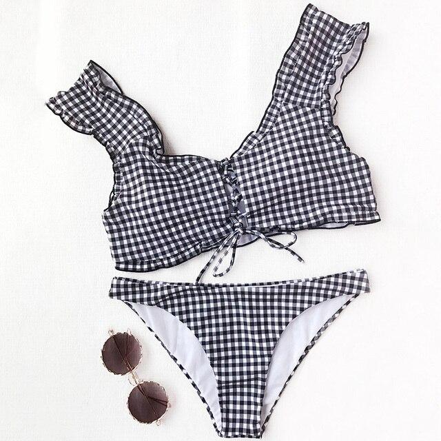 8444b28398 ZAFUL Sexy Swimwear Frilled Gingham Lace Up Bralette Bikini Set Bathing  Suit Scoop Neck Padded Low