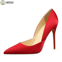 2019 Luxury Heel Shoes Women Silk Thin High Pumps Satin Sexy Elegant High Heels Yellow Red Green Pointed Fashion Female Shoes fashion sweet women 10cm high heels pumps female sexy pointed toe black red stiletto high heels lady pink green shoes ds a0295