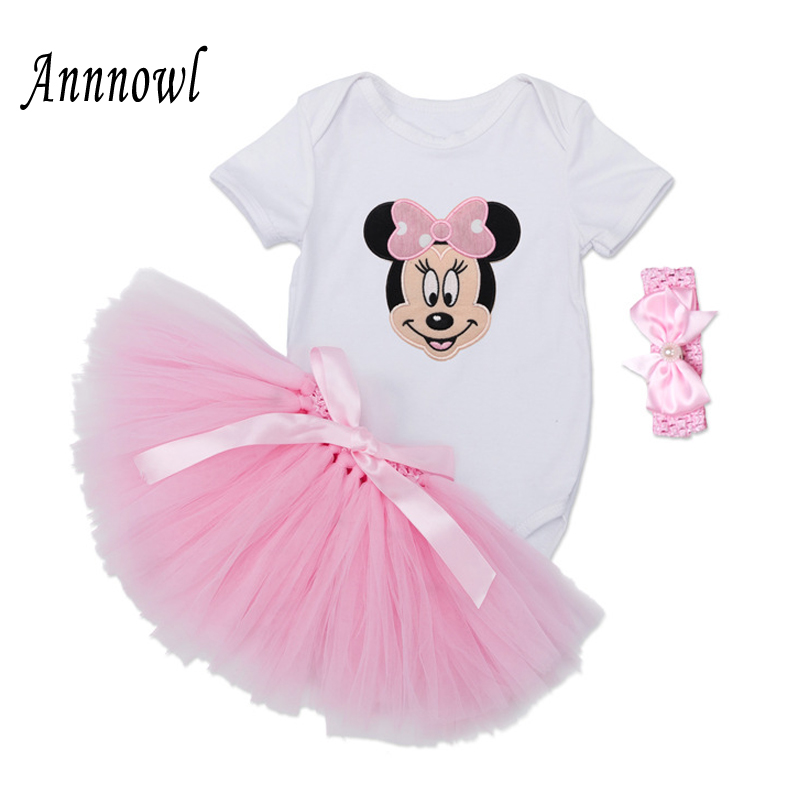 Baby Girl Clothes Summer Infant Clothing Newborn bebes Bodysuit Top + Tutu Skirt + Headband 3pcs Sleeveless Outfits Set for 0-2Y