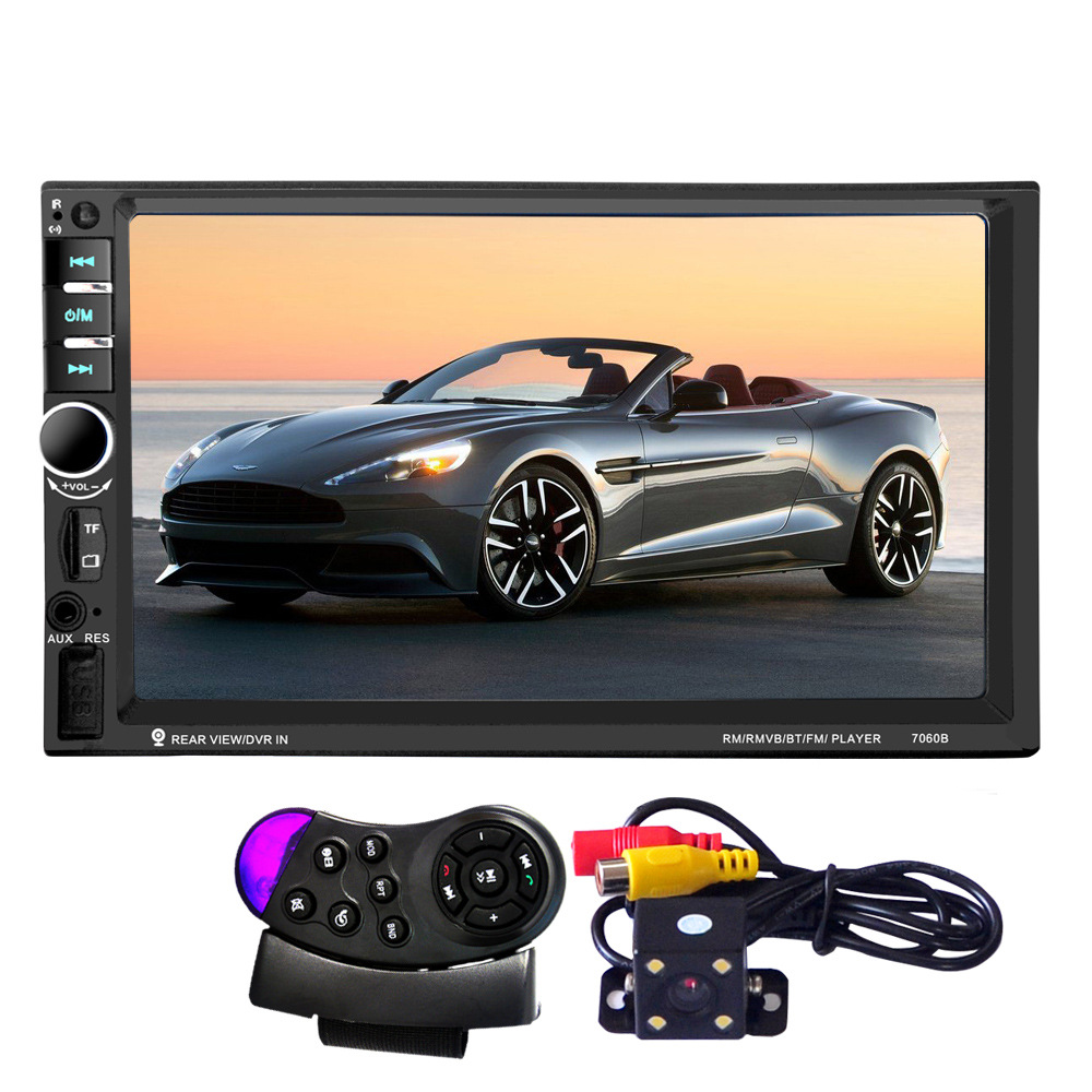 7060B 7 Inch Bluetooth TFT Screen Car Audio Stereo MP3/MP4 /MP5Player 12V Auto 2-Din Support AUX FM USB SD MMC Support 12v bluetooth stereo car radio audio player in dash fm aux input receiver sd usb mp3 mmc 2 x 6 inch auto coaxial loud speaker