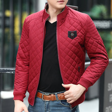 Mens winter jackets with a youthful and vibrant fashion city mens down jacket solid short cropped collar diamond-shaped plaid