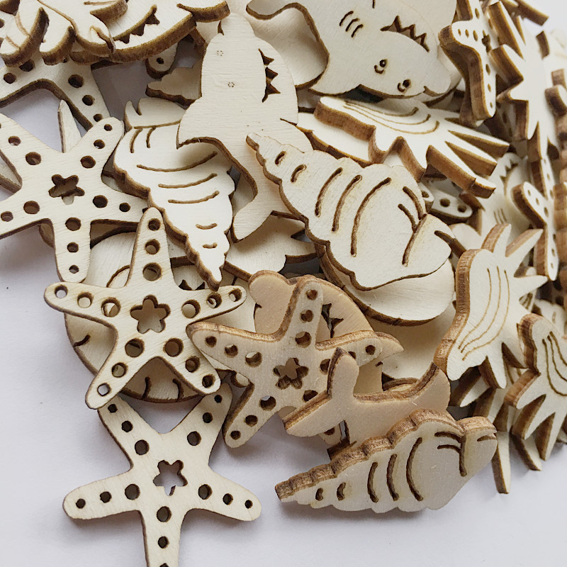 50 Pieces Mixed Keyd Shape Unfinished Wood Cutout Chips Pieces for DIY Art Craft