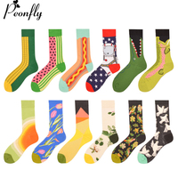 PEONFLY 12 Pairs Lot Funny Men S Colorful Combed Cotton Wedding Socks Novelty Corn Dress Casual