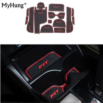 For Honda Fit 2014-2018 High configuration Car Door Slot Latex Gate Groove Mat Non-Slip Mats Interior Cup Cushion 14pcs цена 2017