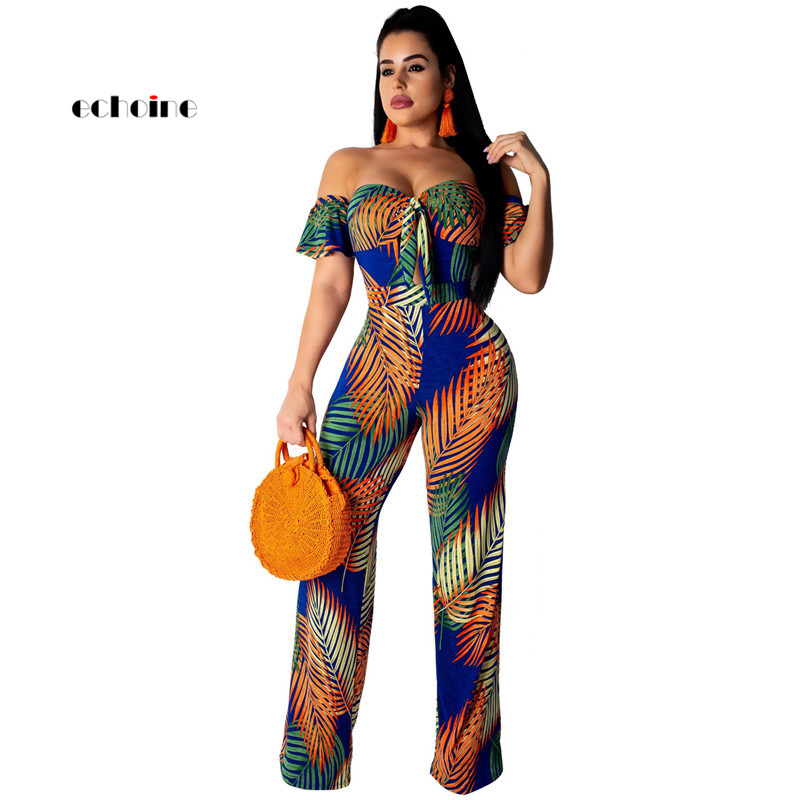 Echoine Women Jumpsuit Bohemian Floral Print Sexy Slash Neck Off Shoulder Loose Long Wide Pants Fashion Holiday Female   Rompers