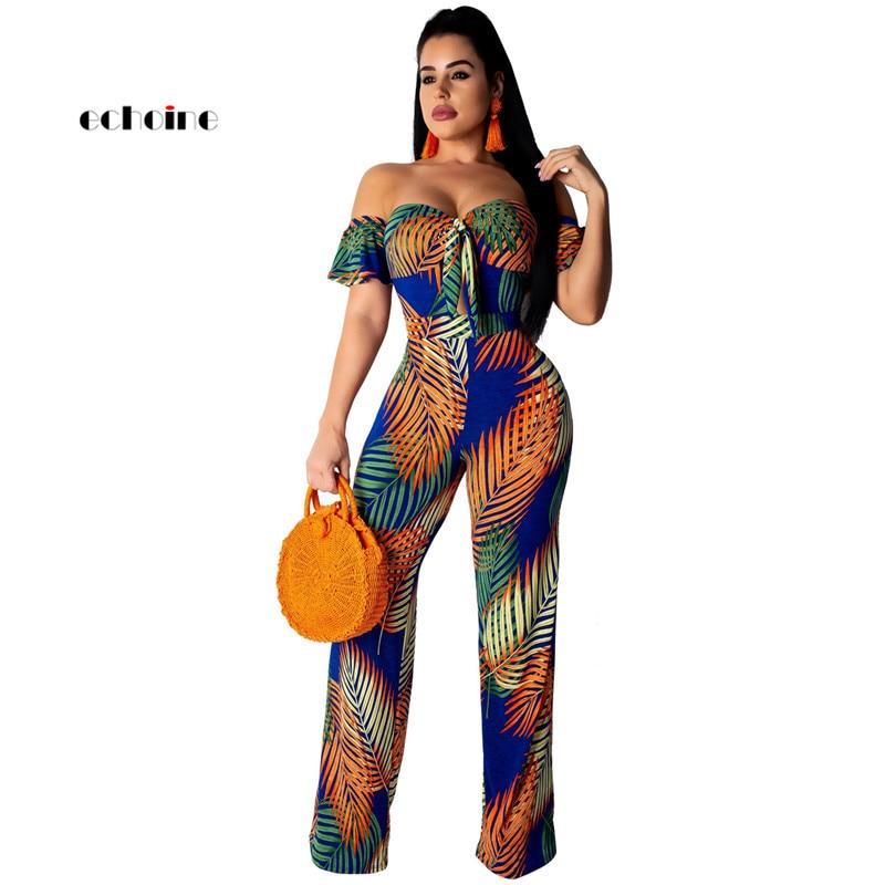 Echoine Women   Jumpsuit   Bohemian Floral Print Sexy Slash Neck Off Shoulder Loose Long Wide Pants Fashion Holiday Female Rompers