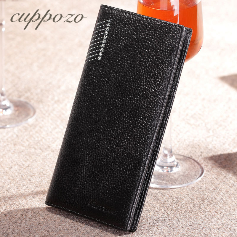 Genuine Leather Multi-Card Bit Fashion Men Wallet The First Layer Of Leather Long Wallet Purse Money Credit Card Holder