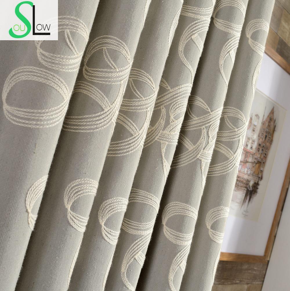 Bavlněné pletené záclony s vyšívanou trojdimenzionální přízi Francouzské okénko pro obývací pokoj Cortinas Záclonová kuchyně