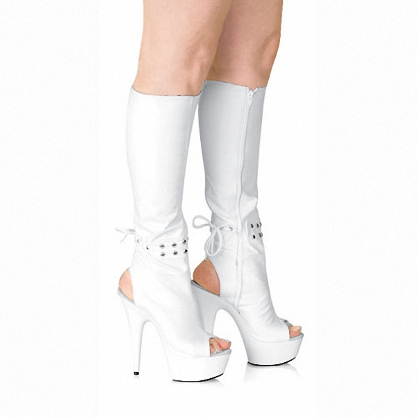 ФОТО 6 inch high heels knee boots platform women Sexy open toe shoes The back zipper spring and autumn cool boots