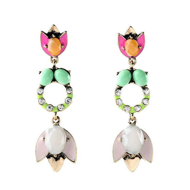 New Fashion Brand Style Tropicana Chandelier Earrings Unique Design Multi Color Cabochon Dangle Earring For Women