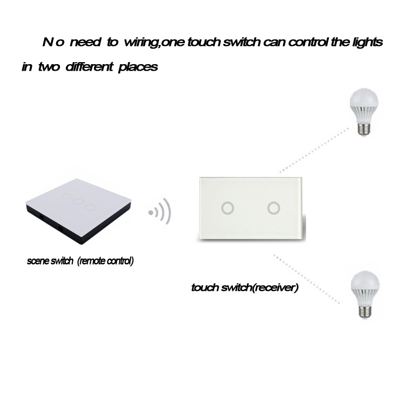 eWelink RF 433 US 2 gang Wireless Touch Remote Control  Wall Light Switch Smart Home  WIFI+RF work with broadlink rm pro rm sonoff touch wall wifi light switch us eu intelligent glass panel smart home wireless remote switch control via by phone