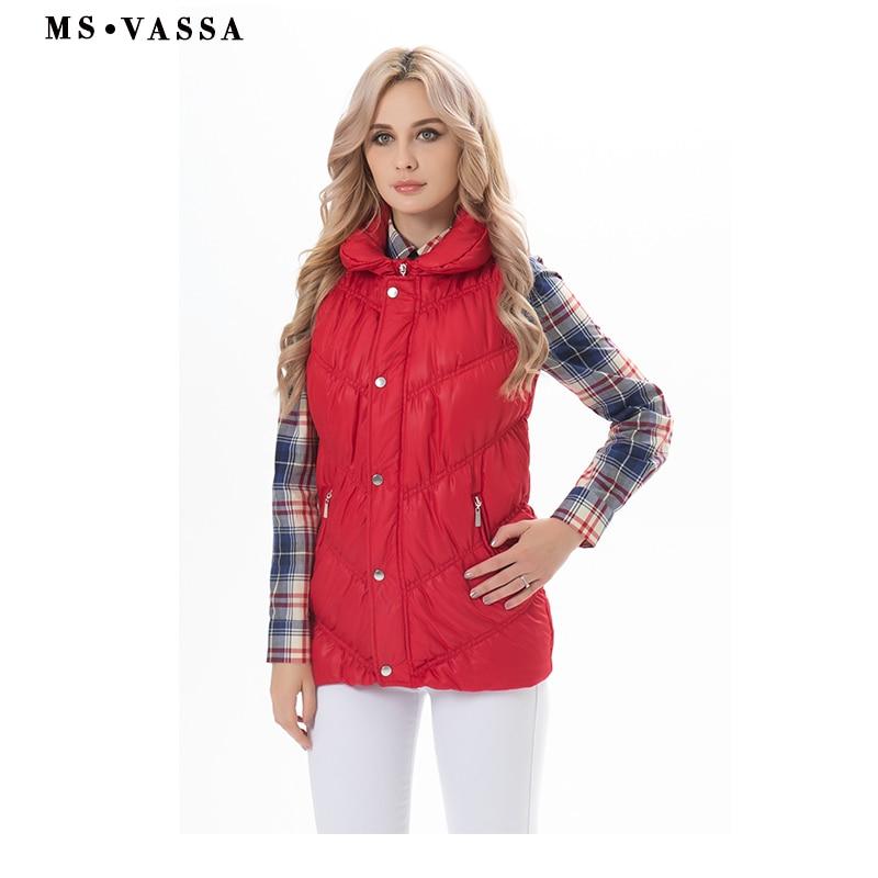 MS VASSA Women Vest 2019 Spring ladies Waistcoat female padding sleeveless jackets stretch casual vest plus