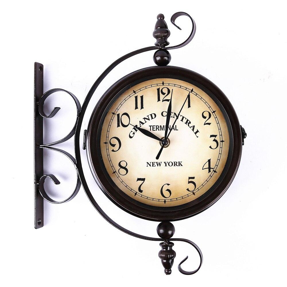 ec6ca7c272c De metal Retro ferro casa decorativo girado antigo o cofre na parede dupla  face relógio de parede do vintage em Relógios de parede de Home   Garden no  ...