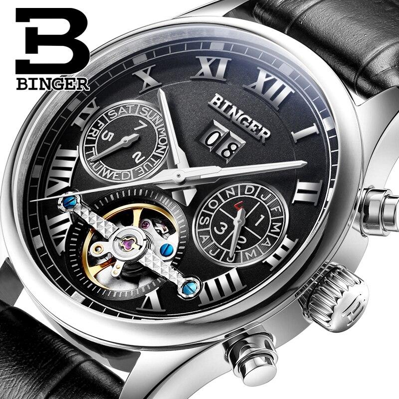 ФОТО Switzerland BINGER watches men luxury brand Tourbillon sapphire luminous multiple functions Mechanical Wristwatches B8602-5